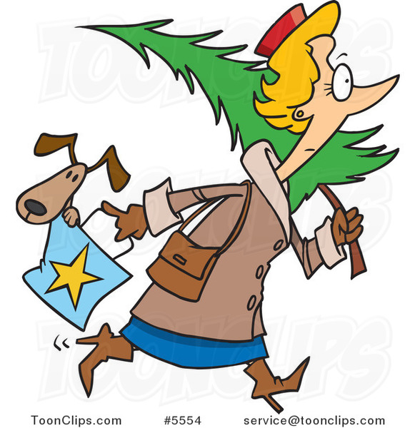 Cartoon Lady Carrying a Dog in Her Purse and a Christmas Tree
