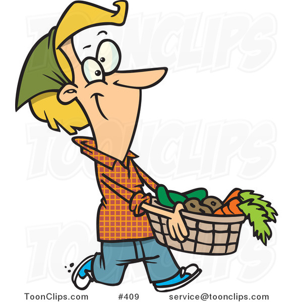 Cartoon Lady Carrying a Harvest Basket