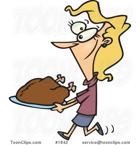 Cartoon Lady Carrying a Roasted Turkey