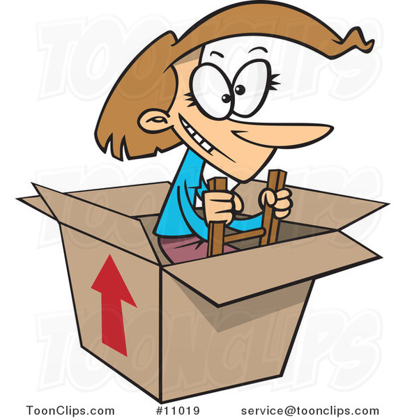 Cartoon Lady Climbing out of a Box