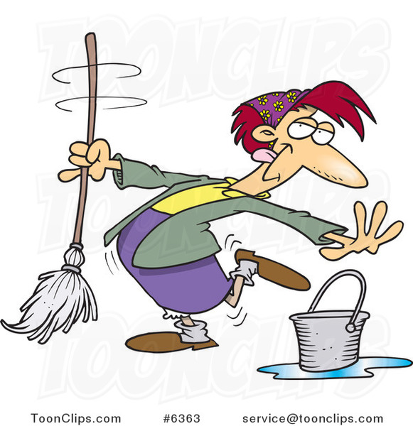 Cartoon Lady Dancing and Mopping