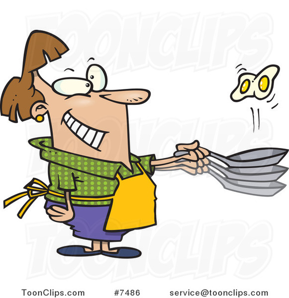 Cartoon Lady Flipping Eggs in a Frying Pan