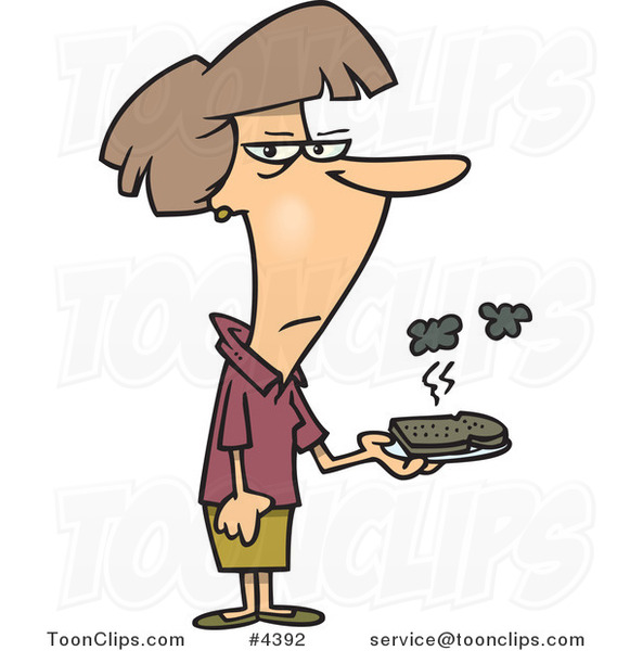 Cartoon Lady Holding a Burnt Piece of Toast