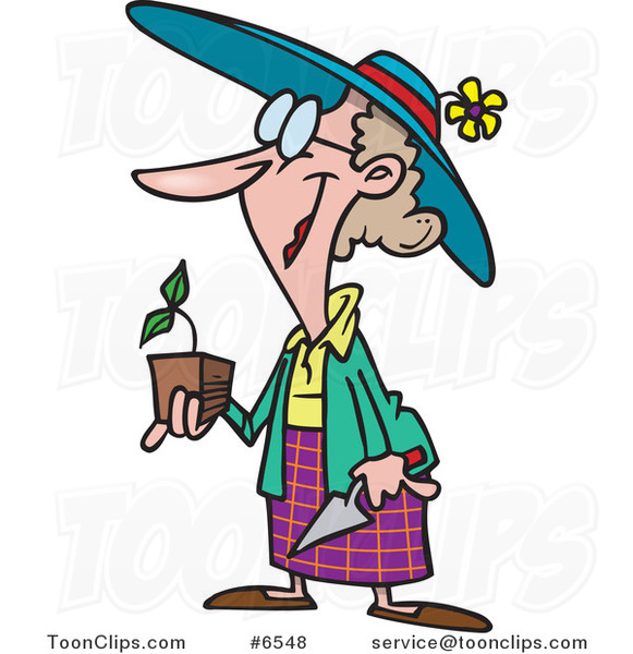 Cartoon Lady Holding a Seedling Plant