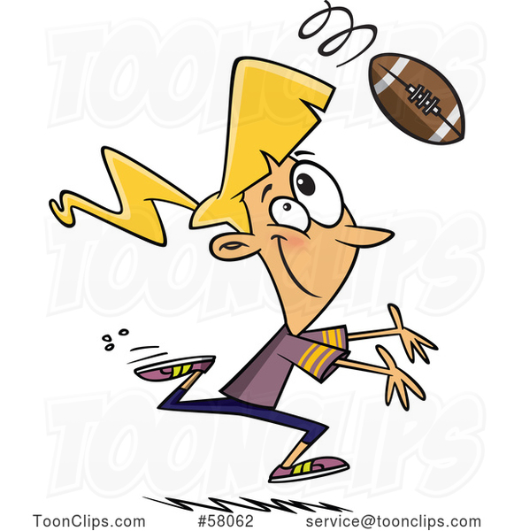 Cartoon Lady Playing Football