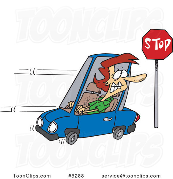 Cartoon Lady Running a Stop Sign