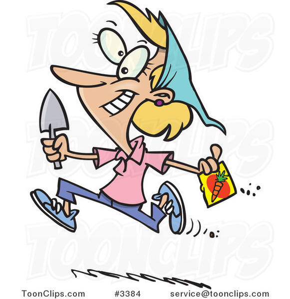 Cartoon Lady Running with Carrot Seeds