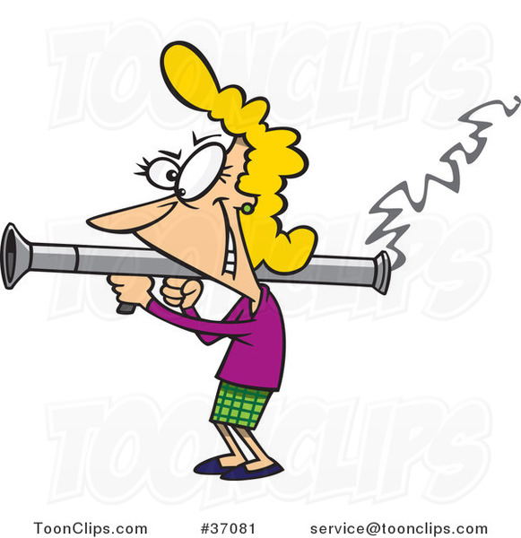 Cartoon Lady Scorned Shooting A Bazooka #37081 By Ron Leishman