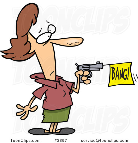 Cartoon Lady Shooting A Bang Banner Out Of A Gun #3897 By