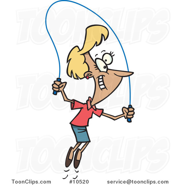 Cartoon Lady Skipping Rope