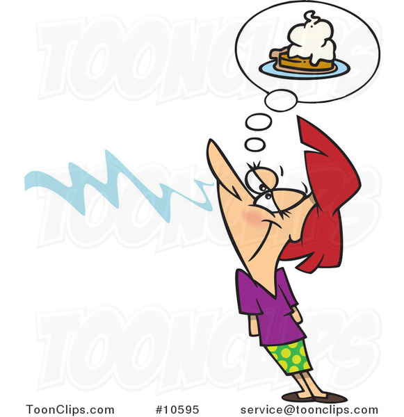 Cartoon Lady Smelling Pie