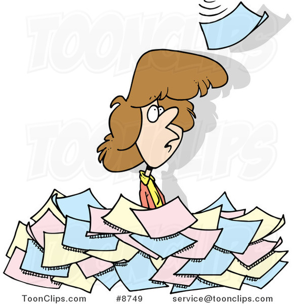 Cartoon Lady Standing In A Pile Of Paperwork 8749 By Ron