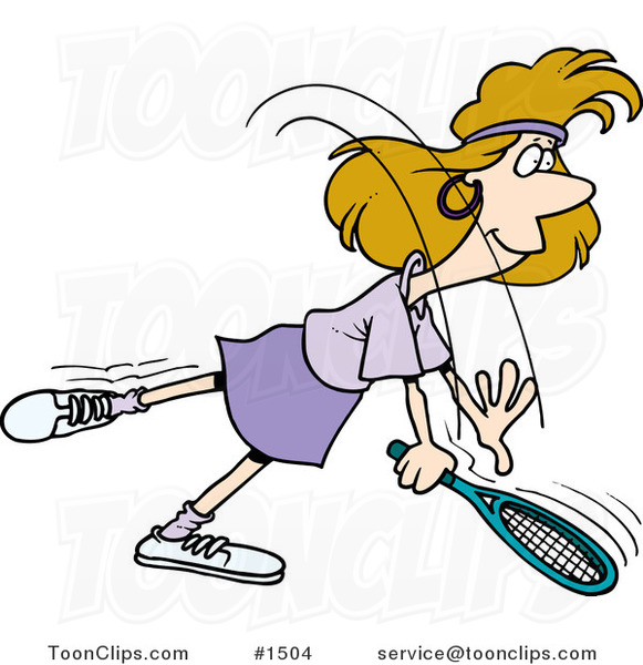 Cartoon Lady Swinging Her Tennis Racket