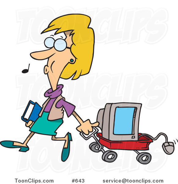 Cartoon Lady Whistling And Pulling A Computer In A Wagon