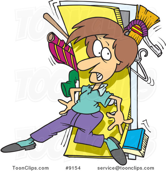 cartoon lady with a messy closet 9154 by ron leishman