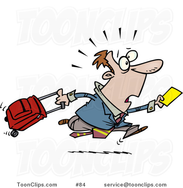 Cartoon Late Traveler Guy Running and Pulling His Luggage at the Airport