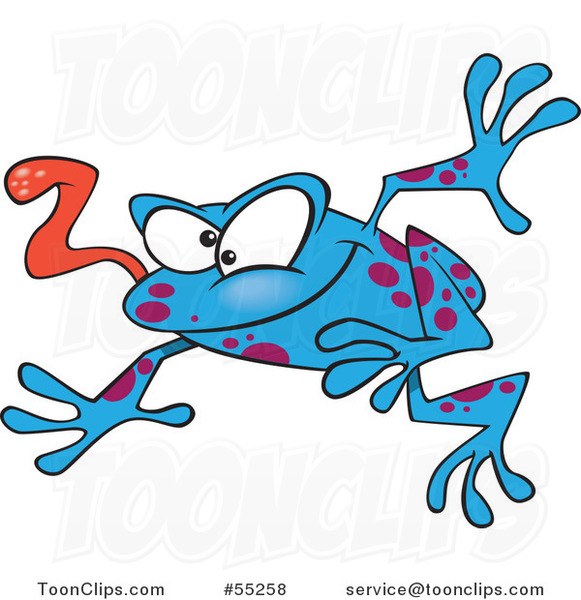 Cartoon Leaping Blue Frog with His Tongue Hanging out