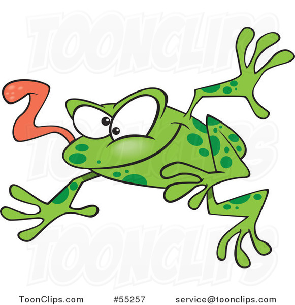 Cartoon Leaping Green Frog with His Tongue Hanging out
