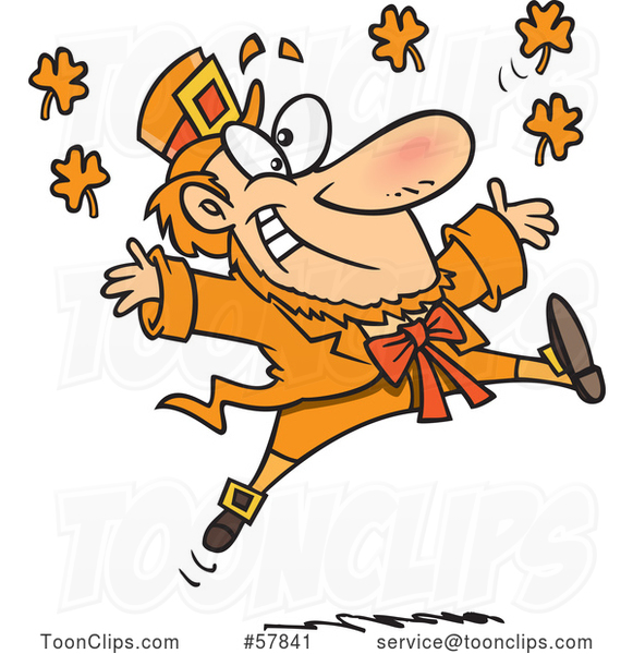Cartoon Leaping Orange Leprechaun