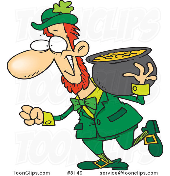 Cartoon Leprechaun Carrying His Pot of Gold on His Shoulder