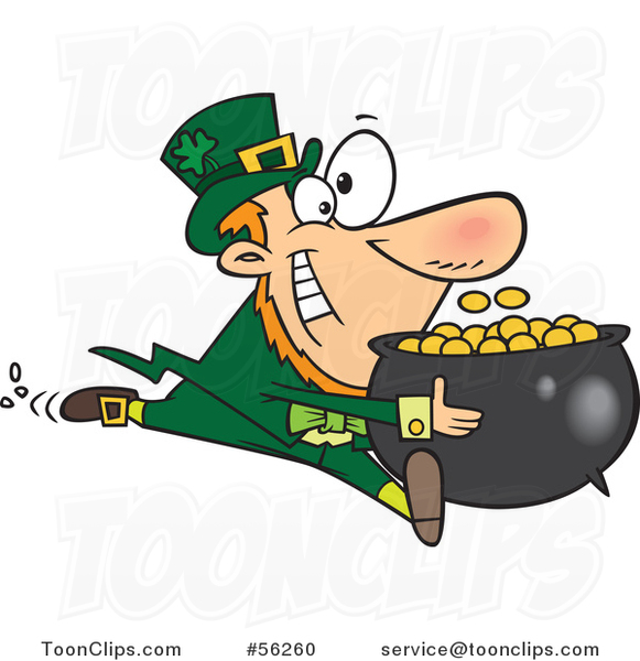 Cartoon Leprechaun Sprinting with His Pot of Gold Coins
