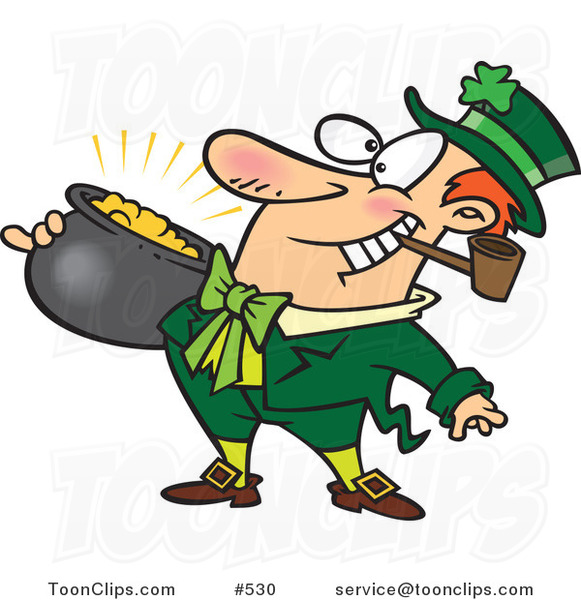 Cartoon Leprechaun with a Pipe and Pot of Gold