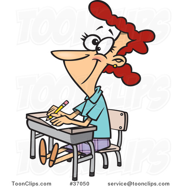 Cartoon Life Long Female Student Sitting at Her Desk