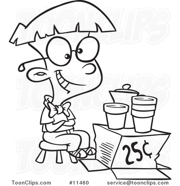 Cartoon Line Drawing Lemonade Tycoon Boy