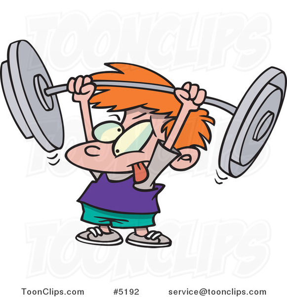 Cartoon Little Boy Lifting a Barbell