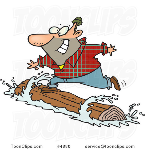 Cartoon Lumberjack Log Rolling 4880 By Ron Leishman