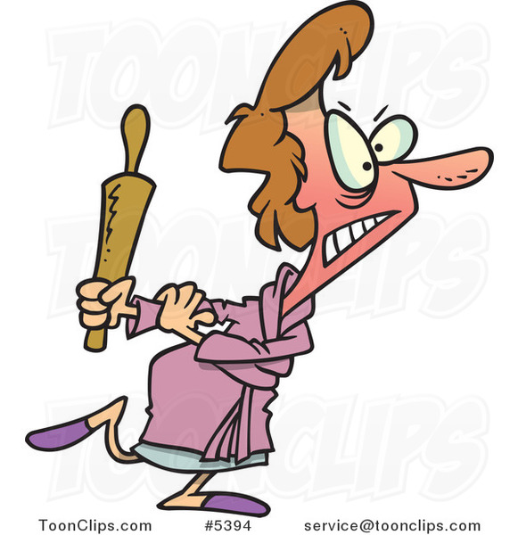 Cartoon Mad Lady Carrying a Rolling Pin