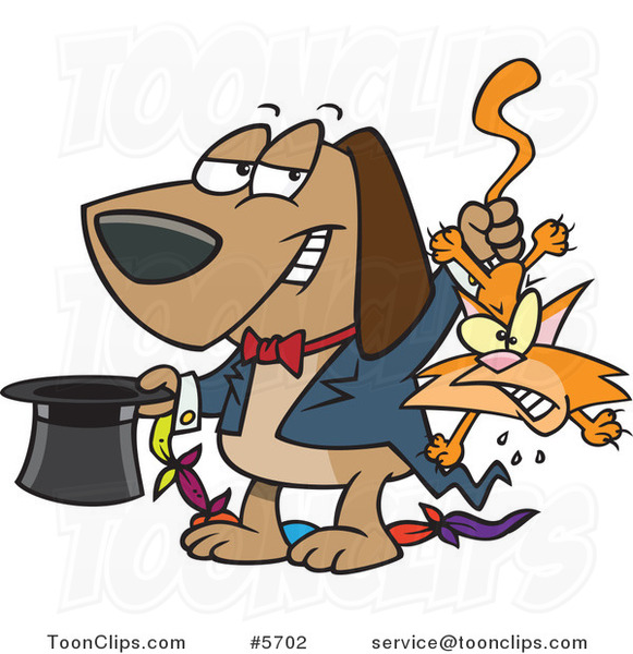Cartoon Magician Dog Pulling a Cat out of a Hat