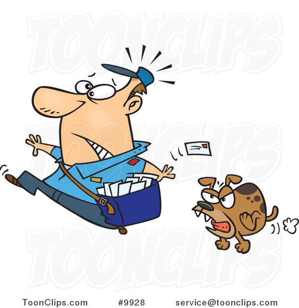 Cartoon Mail Guy Running from a Dog