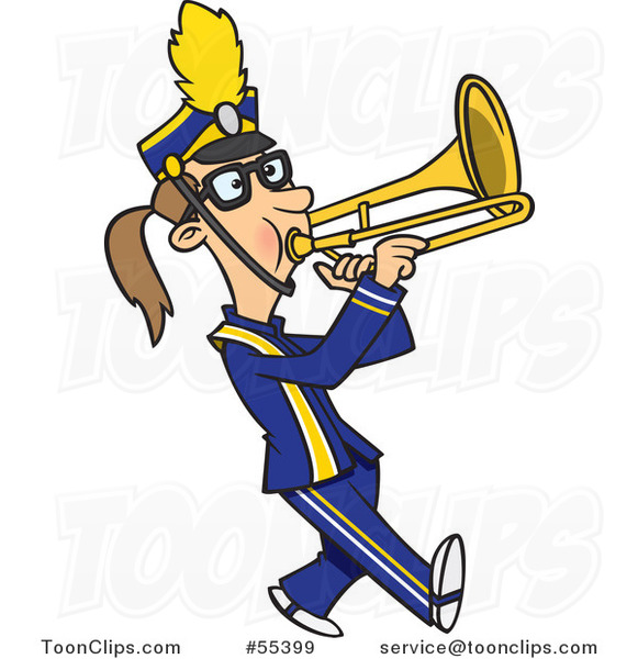 Cartoon Marching Band Trombone Player Girl