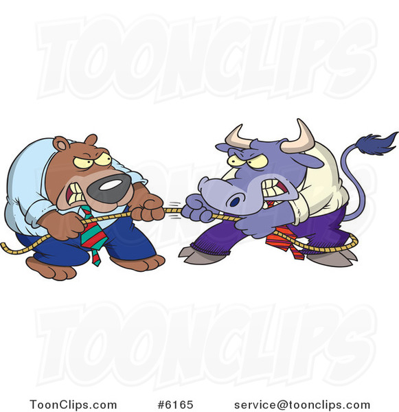Cartoon Market Bull and Bear Engaged in Tug of War