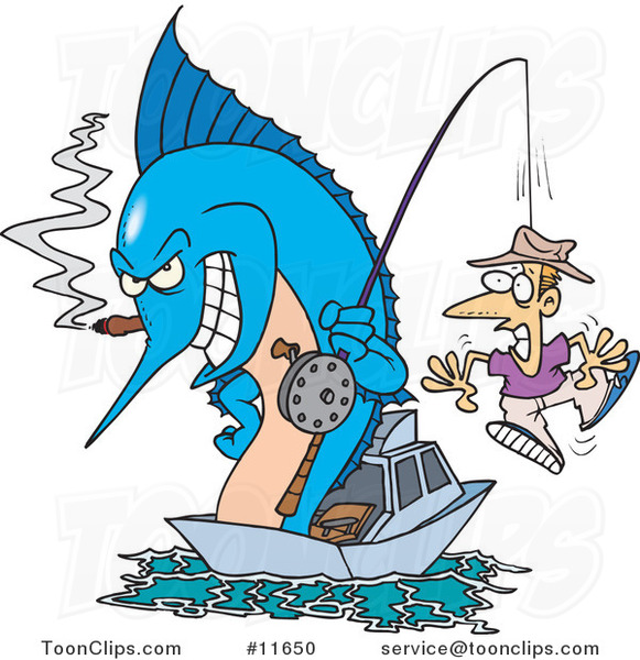 Cartoon Marlin Smoking a Cigar and Reeling in a Guy on a Hook