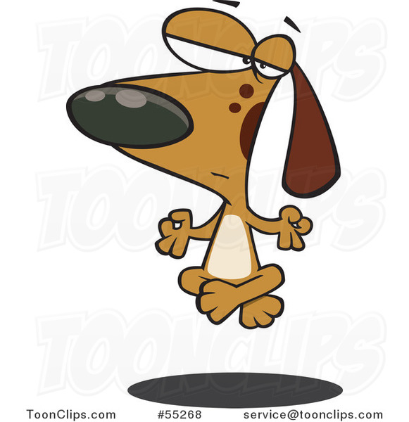 Cartoon Meditating Brown Dog Floating off of the Floor