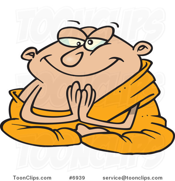 Cartoon Meditating Monk