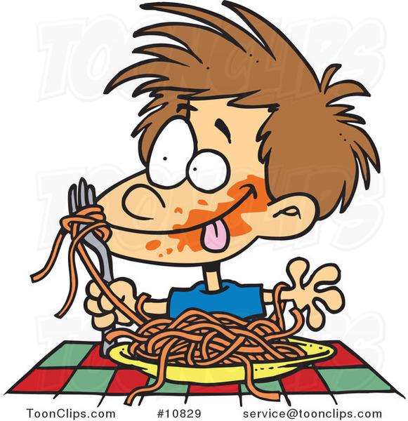 Cartoon Messy Boy Chowing down on Spaghetti #10829 by Ron ...