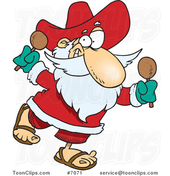 Cartoon Mexican Santa Shaking Maracas