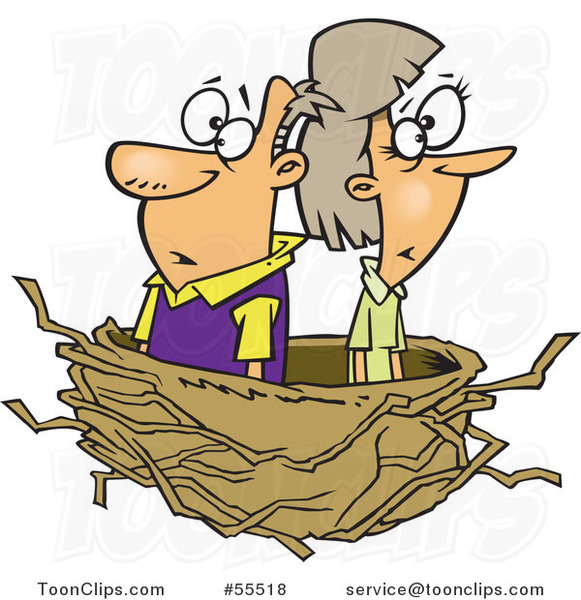 Cartoon Middle Aged Couple in an Empty Nest