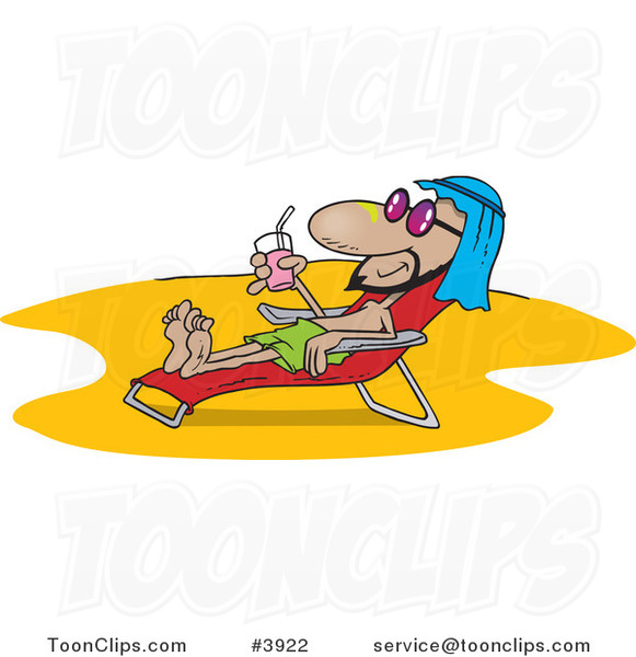 Cartoon Middle Eastern Guy Sun Bathing on a Beach