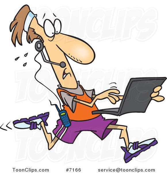 Cartoon Mobile Jogger Using a Laptop