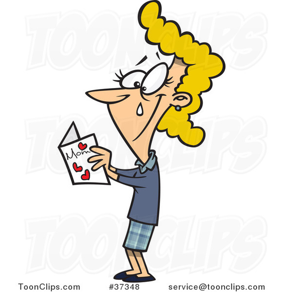 Cartoon Mom Crying While Reading Her Mothers Day Card