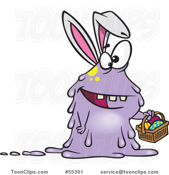 Cartoon Monster Easter Bunny Rabbit Holding a Basket