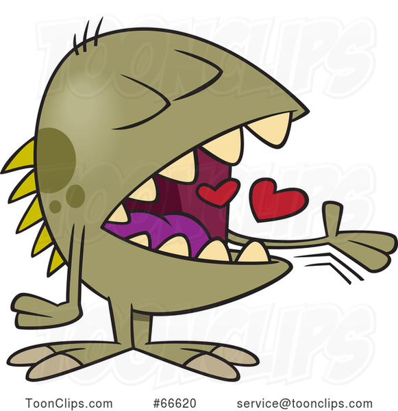 Cartoon Monster Swallowing Hearts