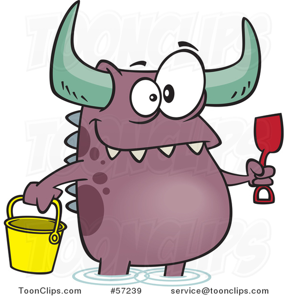 Cartoon Monster with a Bucket and Shovel, Wading on a Beach