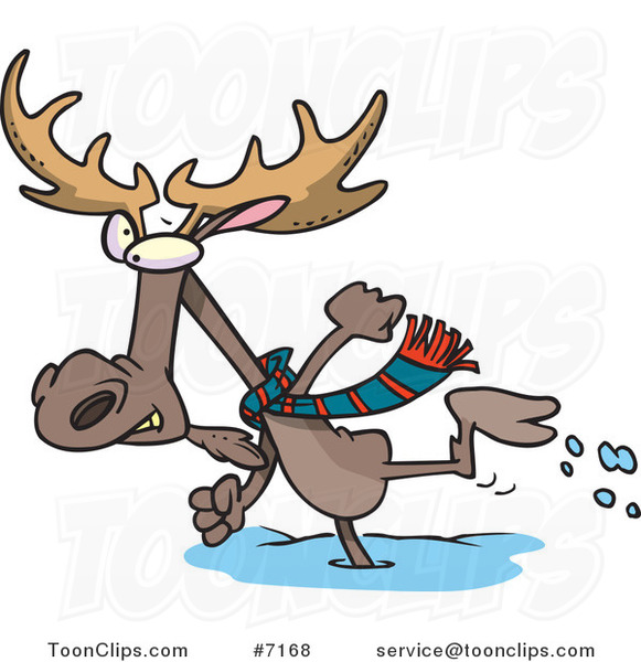 Cartoon Moose Running in the Snow