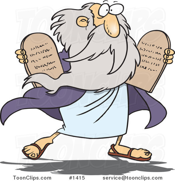 Cartoon Moses Carrying Tablets