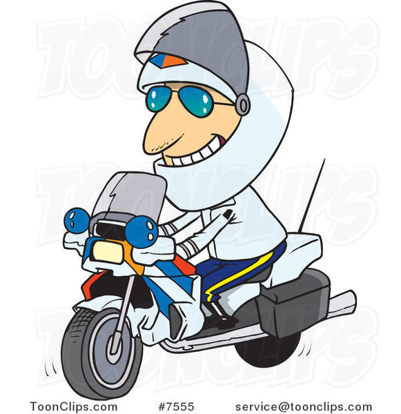 Cartoon Motorcycle Cop
